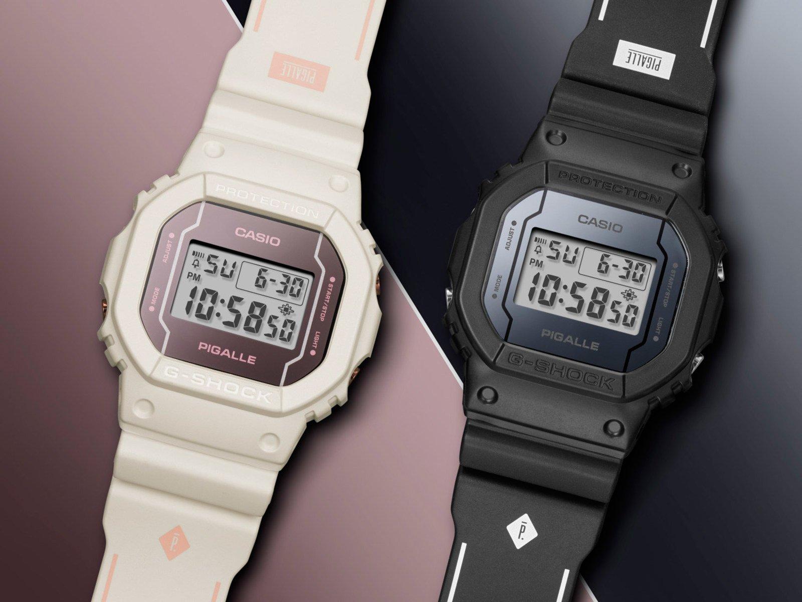 К летнему юбилею casio g-shock представили две дизайнерские версии легендарных часов d лимитированная серия разработана совместно с французским брендом уличной одежды pigalle и включает черные dwpgb-1e и кремовые dwpgw-7e.
